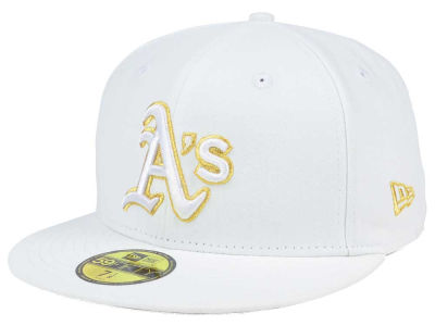 Oakland Athletics New Era MLB White On Metallic 59FIFTY Cap