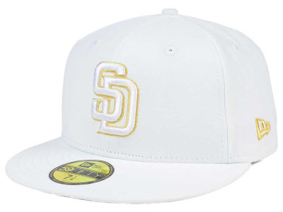 San Diego Padres New Era MLB White On Metallic 59FIFTY Cap