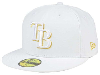 Tampa Bay Rays New Era MLB White On Metallic 59FIFTY Cap