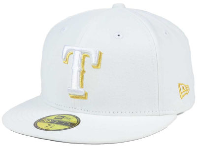 Texas Rangers New Era MLB White On Metallic 59FIFTY Cap