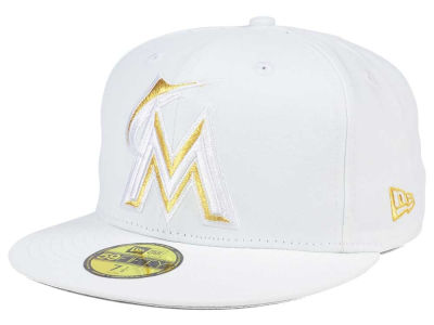 Miami Marlins New Era MLB White On Metallic 59FIFTY Cap