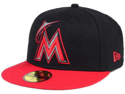 Miami Marlins New Era MLB Black & Red 59FIFTY Cap