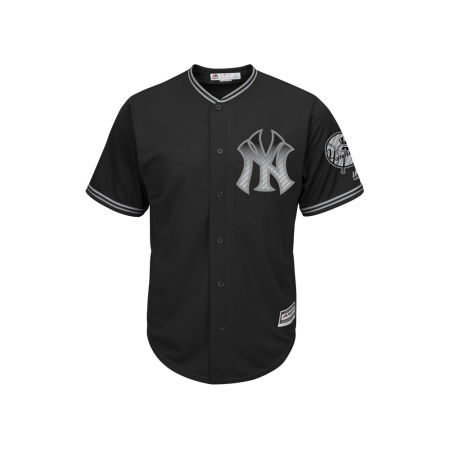 New York Yankees Majestic MLB Men's Black Carbon Cool Base Jersey