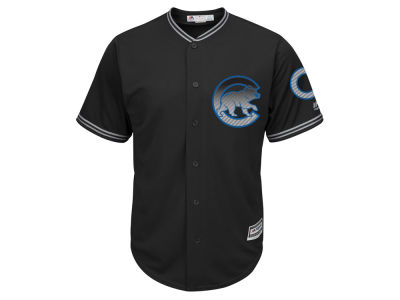 Chicago Cubs Majestic MLB Men's Black Carbon Cool Base Jersey
