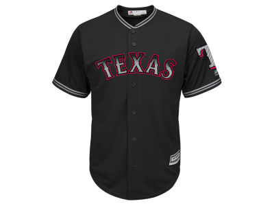 Texas Rangers Majestic MLB Men's Black Carbon Cool Base Jersey