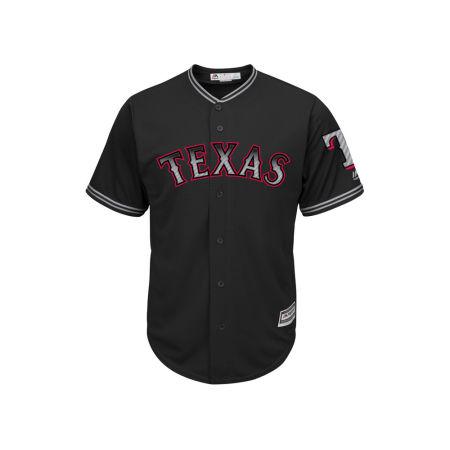 Texas Rangers Majestic MLB Men's Black Carbon Cool Base Jersey
