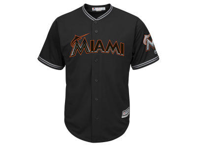 Miami Marlins Majestic MLB Men's Black Carbon Cool Base Jersey
