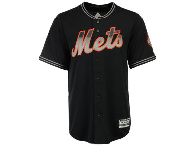 New York Mets Majestic MLB Men's Black Carbon Cool Base Jersey