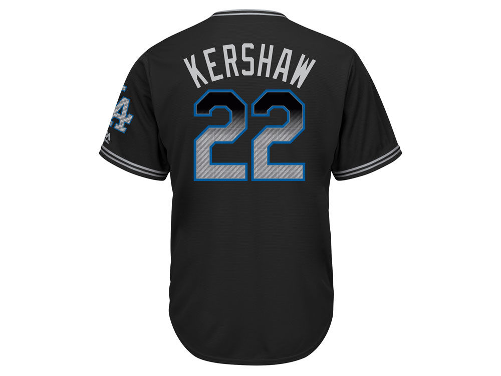 Los Angeles Dodgers Clayton Kershaw Majestic MLB Men s Black Carbon Cool  Base Jersey  5d594b0ab