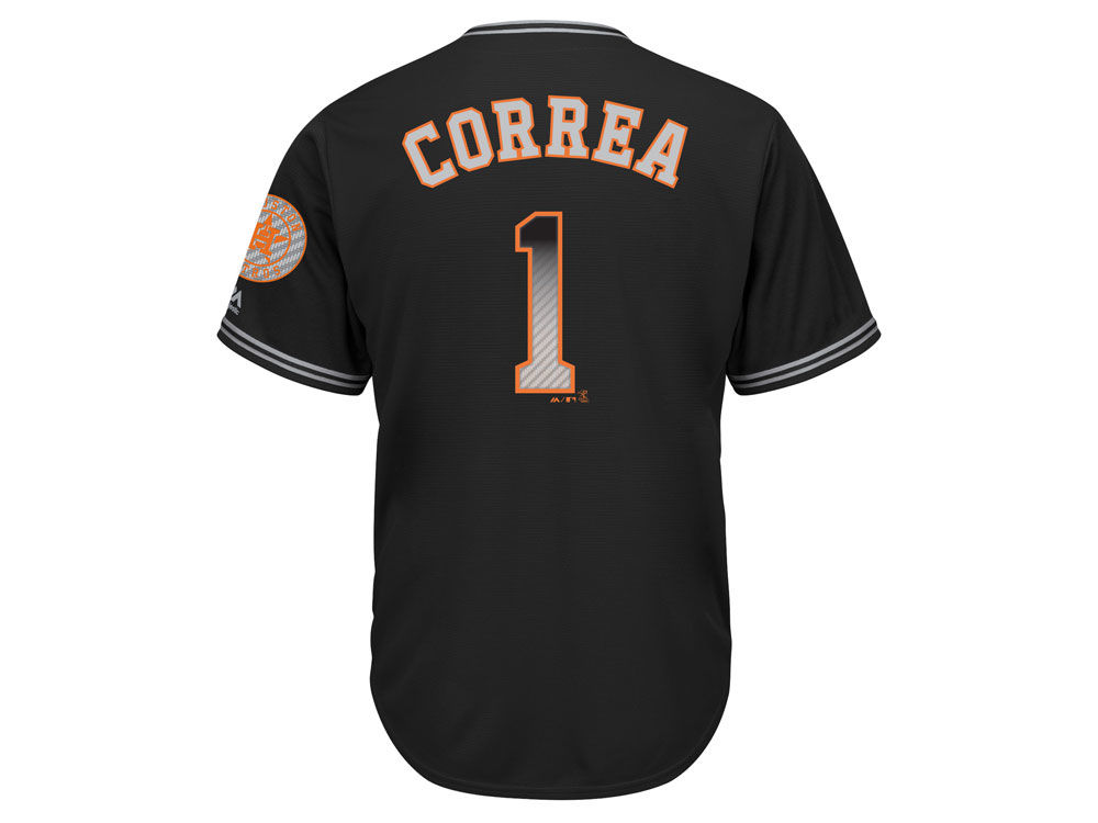 Houston Astros Carlos Correa Majestic MLB Men s Black Carbon Cool Base  Jersey  4030220cd