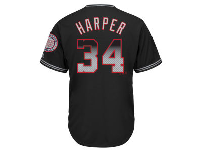 Washington Nationals Bryce Harper Majestic MLB Men's Black Carbon Cool Base Jersey