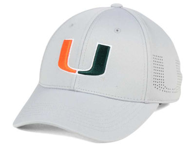 Miami Hurricanes Top of the World NCAA Light Gray Rails Flex Cap