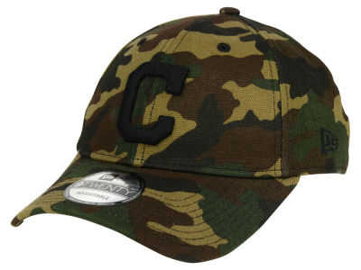 Cleveland Indians New Era MLB Camo on Canvas 9TWENTY Strapback Cap