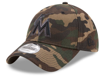 Miami Marlins New Era MLB Camo on Canvas 9TWENTY Strapback Cap