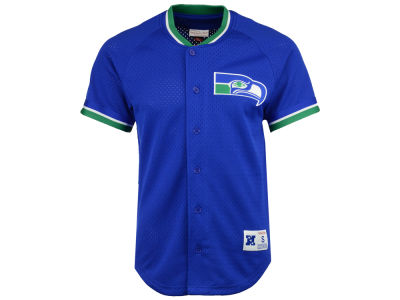 Seattle Seahawks Mitchell & Ness NFL Men's Seasoned Pro Mesh Button Front 2.0 Jersey