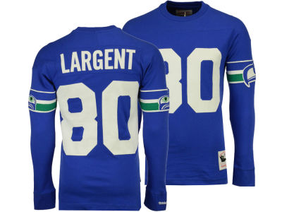 Seattle Seahawks Steve Largent Mitchell & Ness NFL Men's Retro Player Long Sleeve T-shirt
