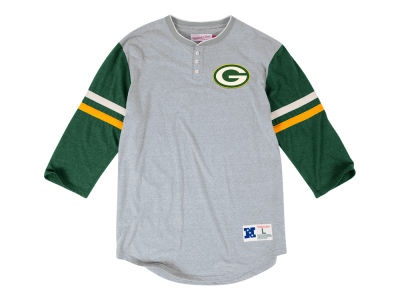 Green Bay Packers Mitchell & Ness NFL Men's Home Stretch Henley Longsleeve T-Shirt