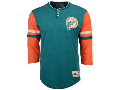Miami Dolphins Mitchell & Ness NFL Men's Home Stretch Henley Longsleeve T-Shirt