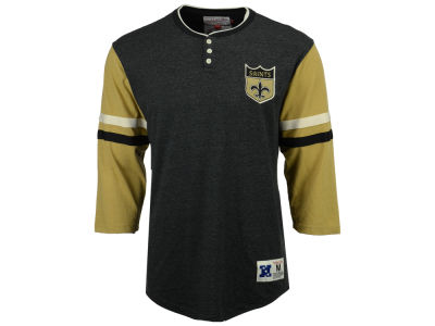 New Orleans Saints Mitchell & Ness NFL Men's Home Stretch Henley Longsleeve T-Shirt