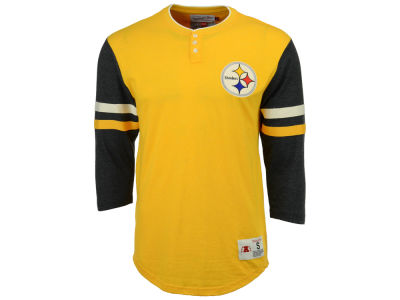 Pittsburgh Steelers Mitchell & Ness NFL Men's Home Stretch Henley Longsleeve T-Shirt