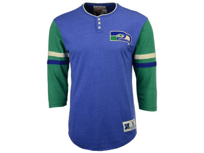 Seattle Seahawks Mitchell & Ness NFL Men's Home Stretch Henley Longsleeve T-Shirt