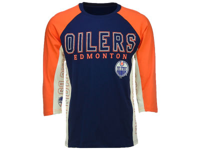 Edmonton Oilers GIII NHL Men's Hands High Slugger 3/4 Sleeve T-Shirt