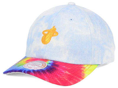 Miami Heat Mitchell & Ness NBA Denim Tie Dye Dad Hat