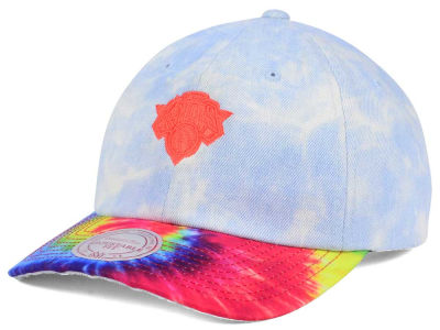 New York Knicks Mitchell & Ness NBA Denim Tie Dye Dad Hat