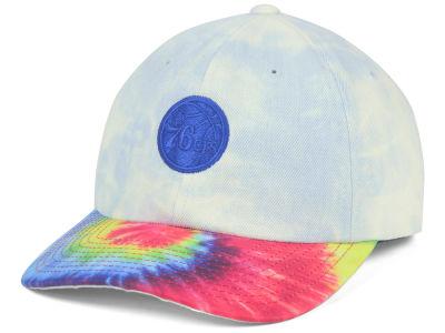 newest 83457 985c7 Philadelphia 76ers Mitchell   Ness NBA Denim Tie Dye Dad Hat