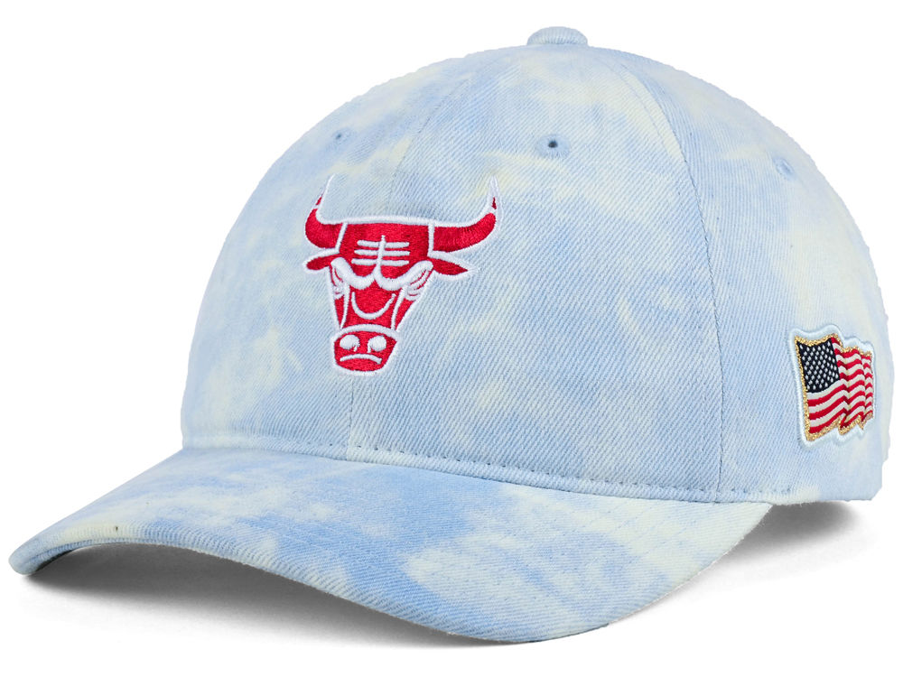 Chicago Bulls Mitchell   Ness NBA USA Acid Washed Denim Dad Hat ... 547a296d8d03