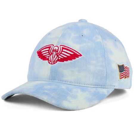 New Orleans Pelicans Mitchell & Ness NBA USA Acid Washed Denim Dad Hat