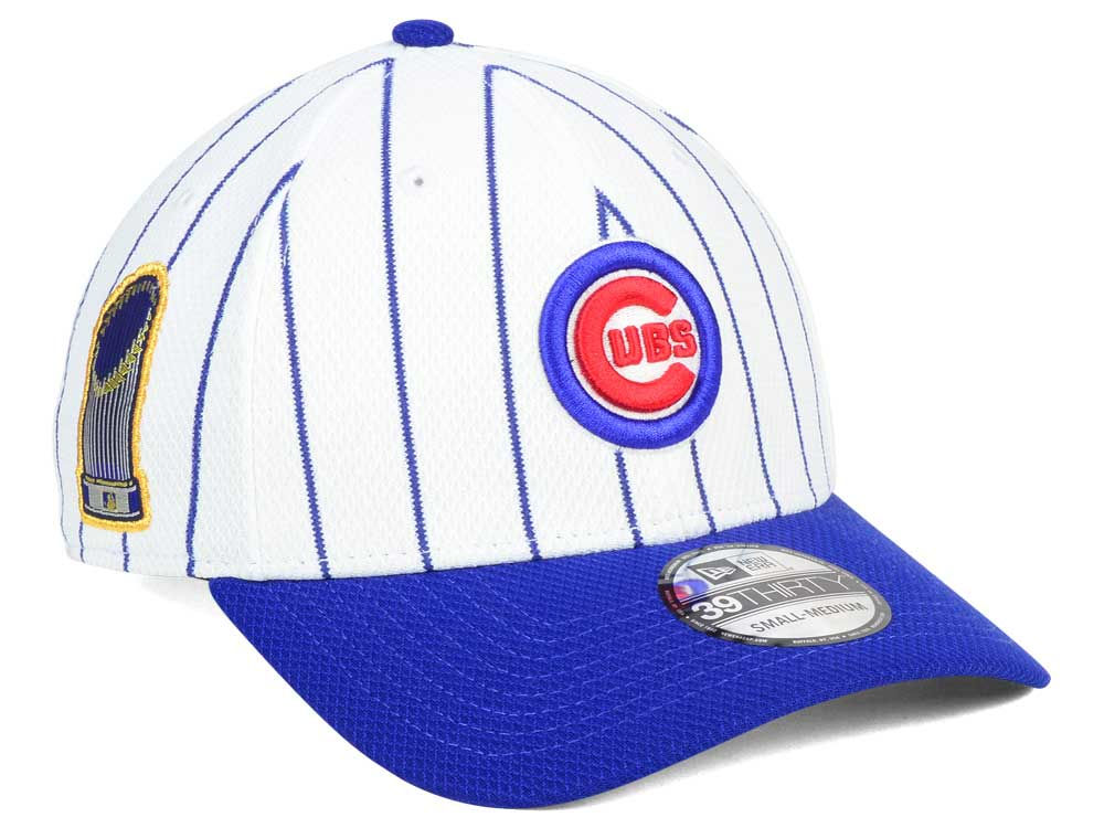 Chicago Cubs New Era MLB World Series Pinstripe 39THIRTY Cap  600bd777581