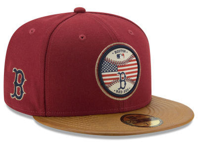 Boston Red Sox New Era MLB Leather Americana 59FIFTY Cap