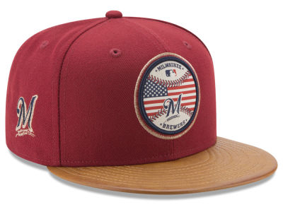 Milwaukee Brewers New Era MLB Leather Americana 59FIFTY Cap