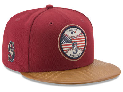 Seattle Mariners New Era MLB Leather Americana 59FIFTY Cap