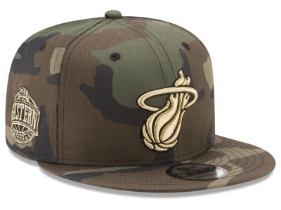 Miami Heat New Era NBA Metallic Woodland 9FIFTY Snapback Cap