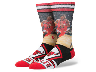 Chicago Bulls Jimmy Butler Stance NBA Player Jersey Crew Sock