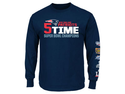 New England Patriots Majestic NFL Men's Super Bowl LI Champ Multi Champ Long Sleeve T-Shirt