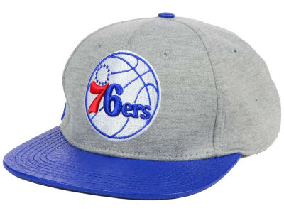 Philadelphia 76ers Pro Standard NBA Heather Leather Strapback Cap