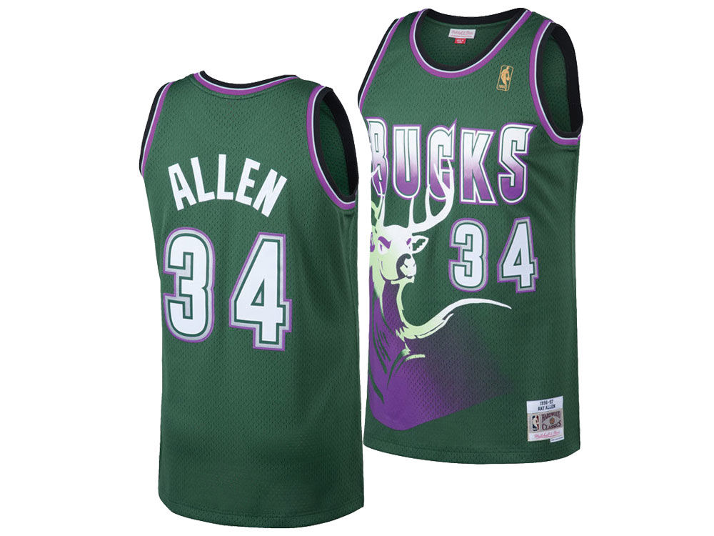 2446f51b7 official milwaukee bucks ray allen mitchell ness nba mens hardwood classic  swingman jersey c9605 505bc
