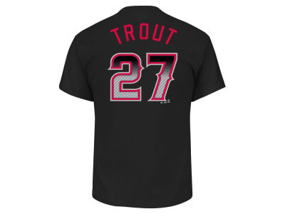 Los Angeles Angels Mike Trout MLB Men's Black Carbon Player T-Shirt