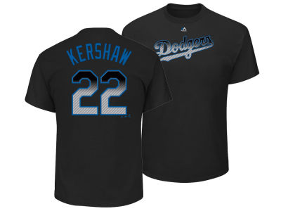 Los Angeles Dodgers Clayton Kershaw Majestic MLB Men's Black Carbon Player T-Shirt