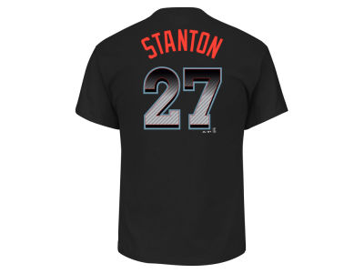 Miami Marlins Giancarlo Stanton MLB Men's Black Carbon Player T-Shirt