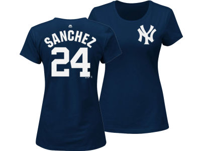 New York Yankees Gary Sanchez Majestic MLB Women's Crew Player T-Shirt