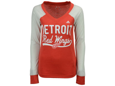 Detroit Red Wings adidas NHL Women's Elbow Patch Long Sleeve T-shirt