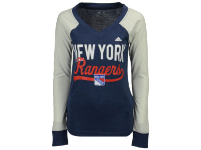 New York Rangers adidas NHL Women's Elbow Patch Long Sleeve T-shirt