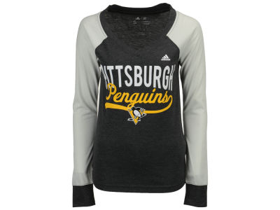 Pittsburgh Penguins adidas NHL Women's Elbow Patch Long Sleeve T-shirt