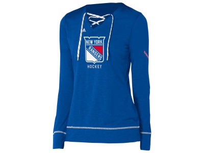 New York Rangers adidas NHL Women's Hockey Stitch Long Sleeve T-shirt