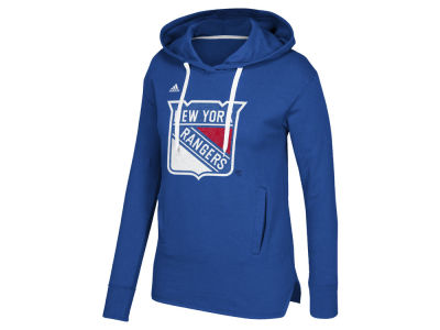 New York Rangers adidas NHL Women's Logo Shine Hooded Sweatshirt