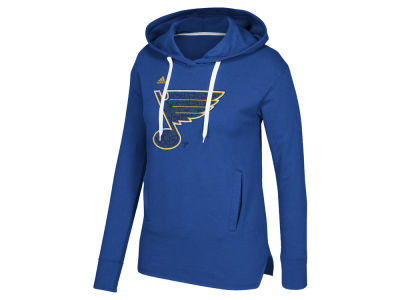 St. Louis Blues adidas NHL Women's Logo Shine Hooded Sweatshirt